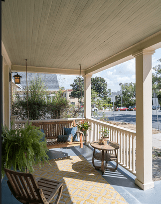 Front Porch with Swing, California Craftsman Bungalow For Sale in Melrose Hill HPOZ | Hancock Park Real Estate
